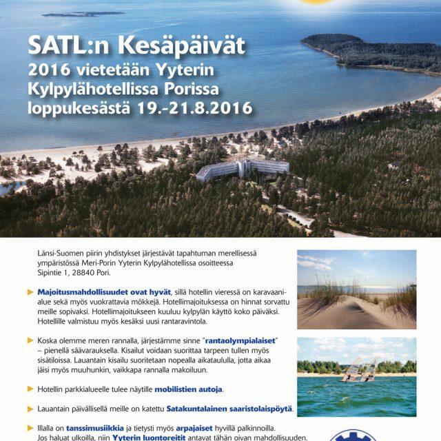 SATL:n Kesäpäivät järjestetään 19.-21.8.2016