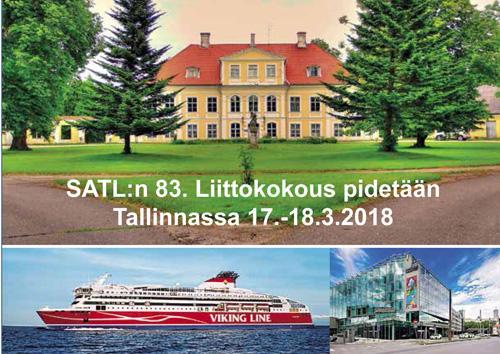 SATL:n 83. Liittokokous pidetään Tallinnassa 17.-18.3.2018