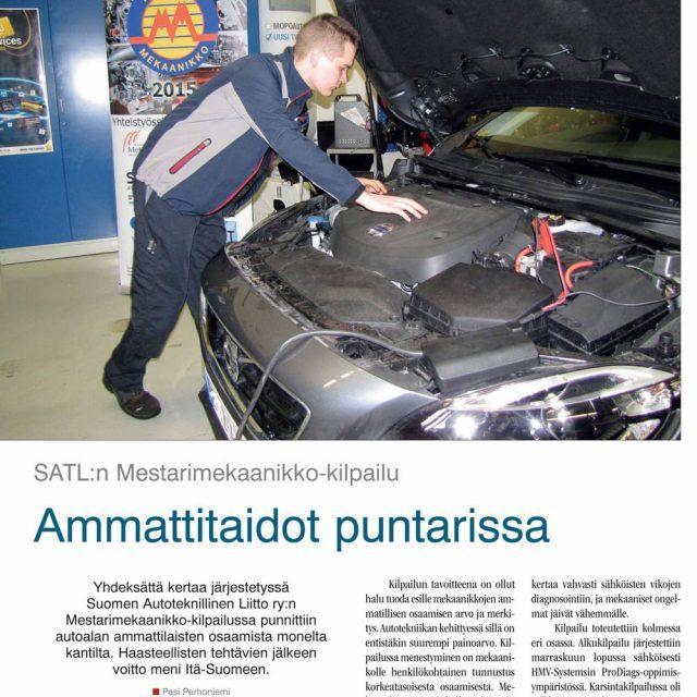 Mestarimekaanikko 2015 -kilpailun juttu Suomen Autolehdessä