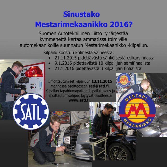 Mestarimekaanikko 2016 -kilpailun päivämäärät on julkistettu